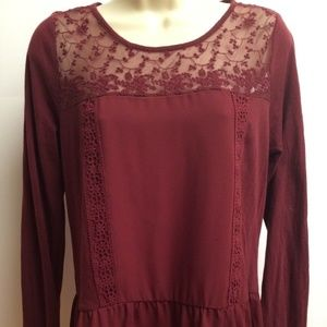 Lauren Conrad LC Blouse Red Lace Sheer S